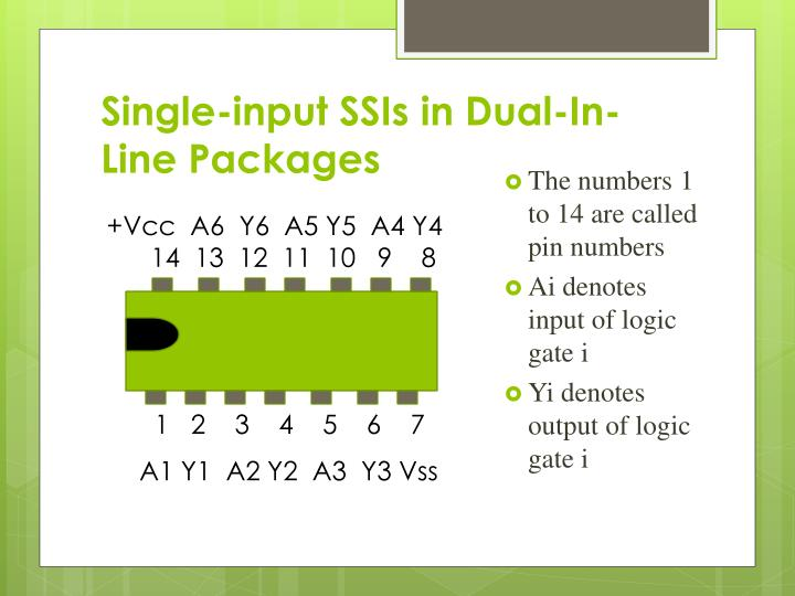 Single-input SSIs in Dual-In-Line Packages