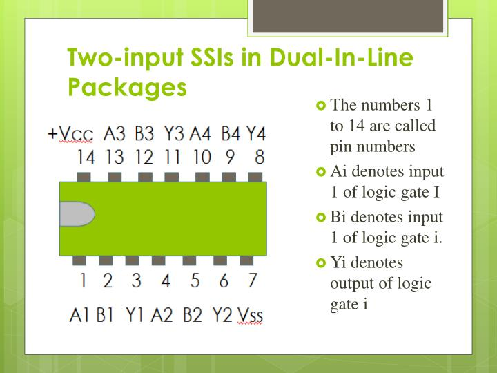 Two-input SSIs in Dual-In-Line Packages