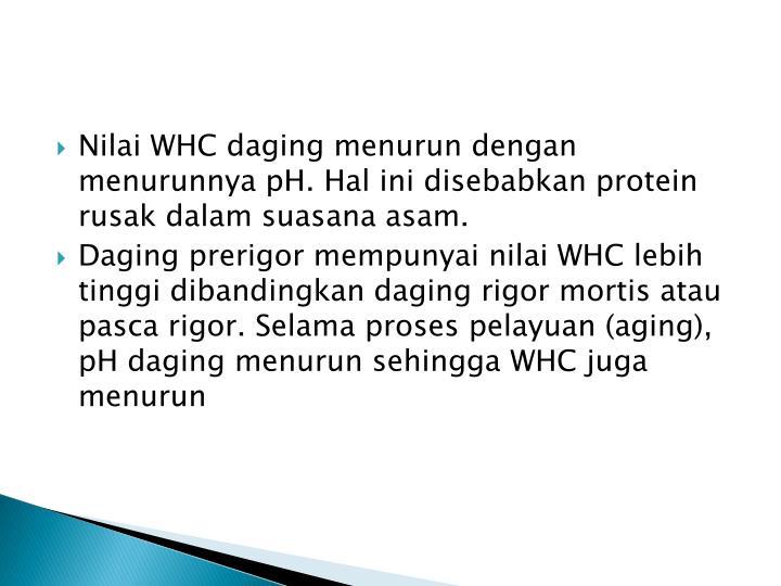 Nilai WHC daging menurun dengan menurunnya pH. Hal ini disebabkan protein rusak dalam suasana asam.