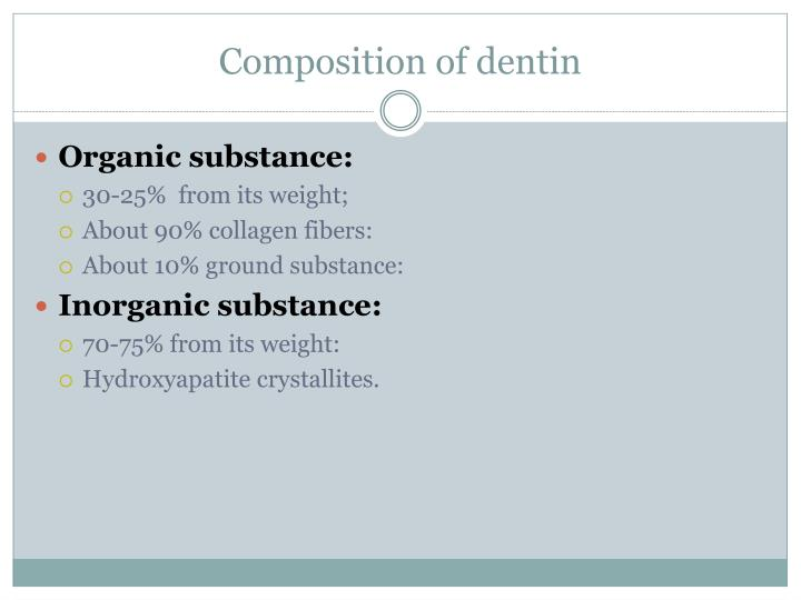 Composition of dentin