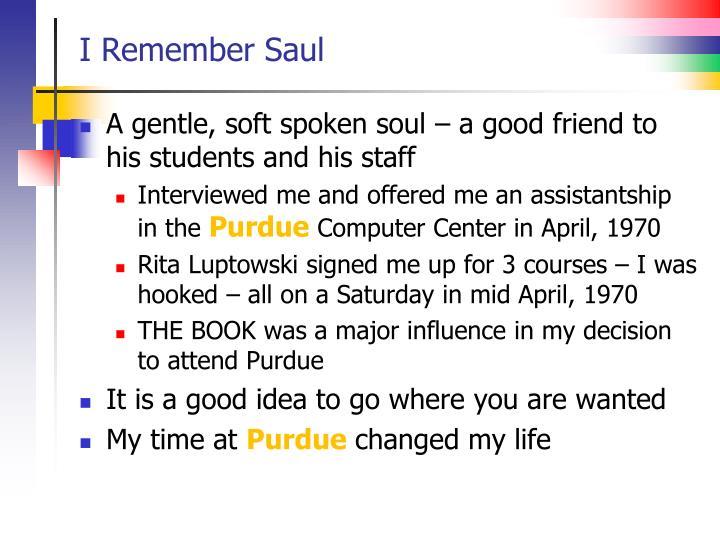 I Remember Saul