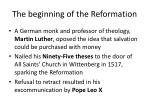 the beginning of the reformation