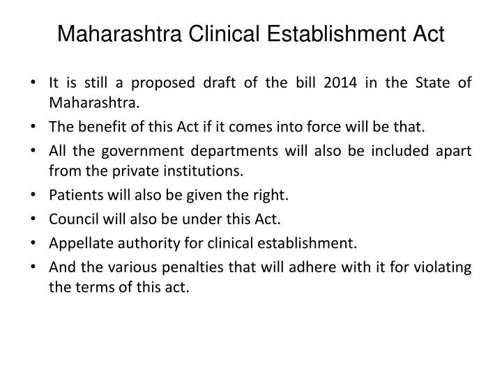 Maharashtra Clinical Establishment Act
