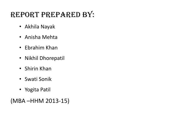 Report Prepared By: