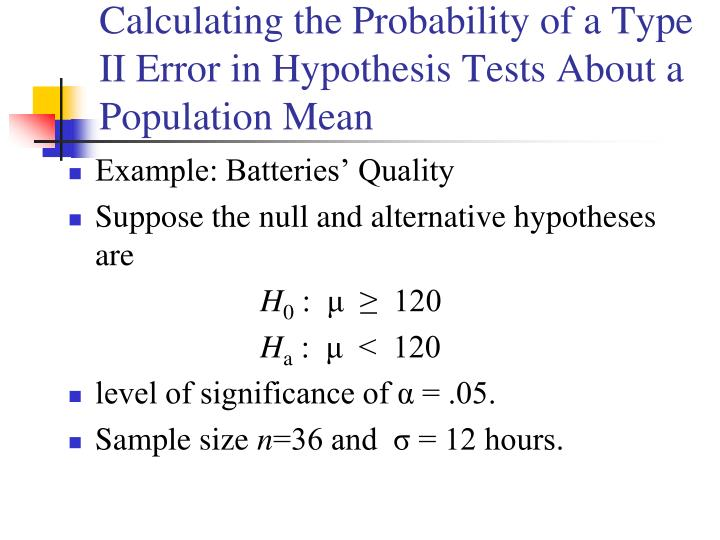 Calculating the Probability of a Type II Error