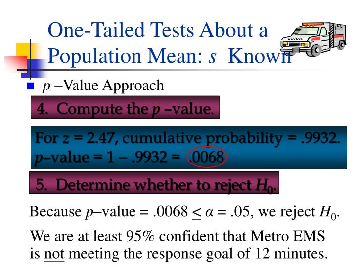 One-Tailed Tests About a Population