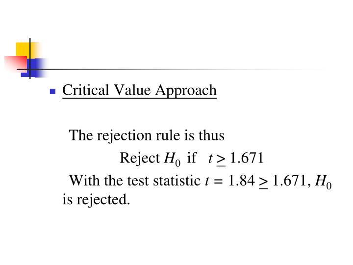Critical Value Approach