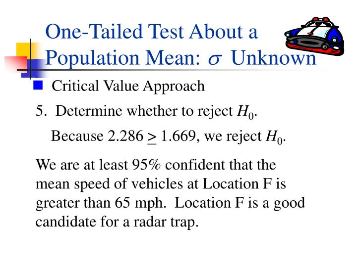 One-Tailed Test About a Population