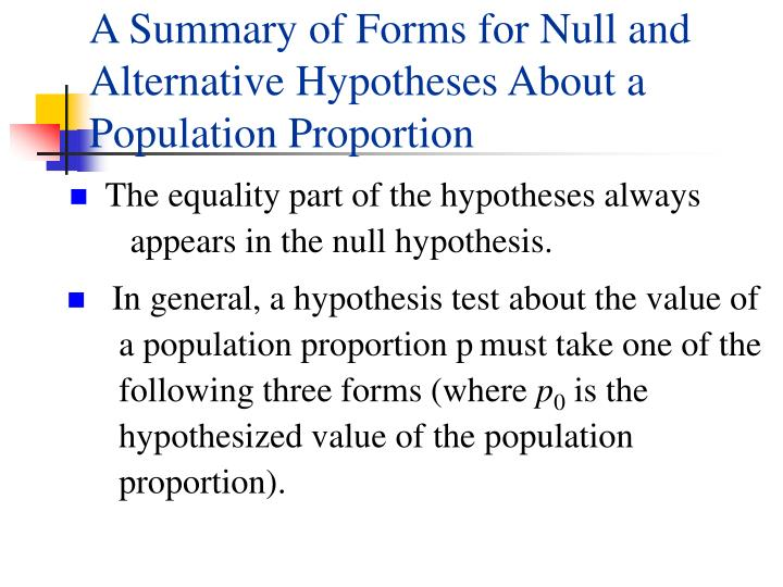 A Summary of Forms for Null and Alternative Hypotheses About a Population Proportion