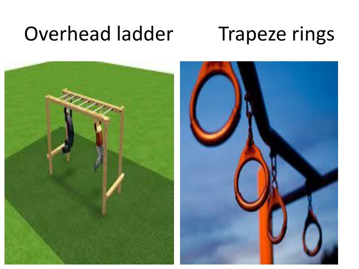 Overhead ladder         Trapeze rings