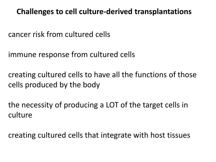 Challenges to cell culture-derived transplantations