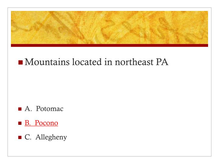 Mountains located in northeast PA