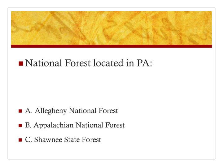 National Forest located in PA: