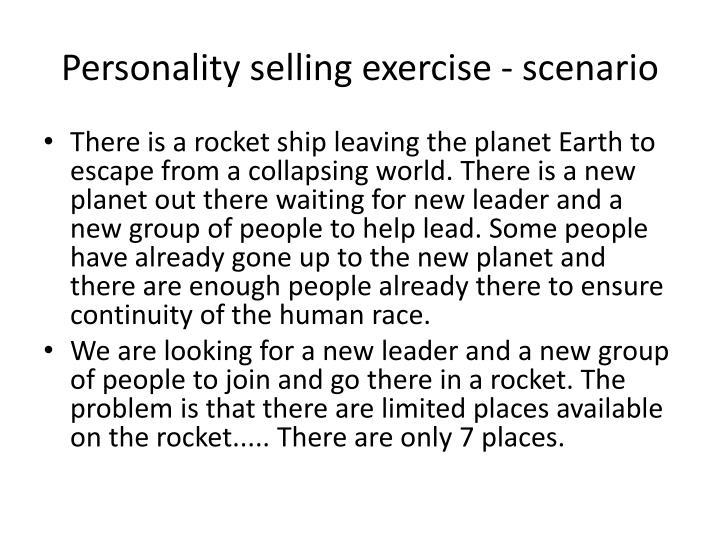 Personality selling exercise - scenario