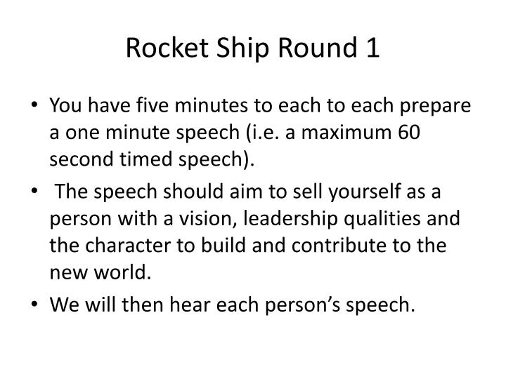 Rocket Ship Round 1