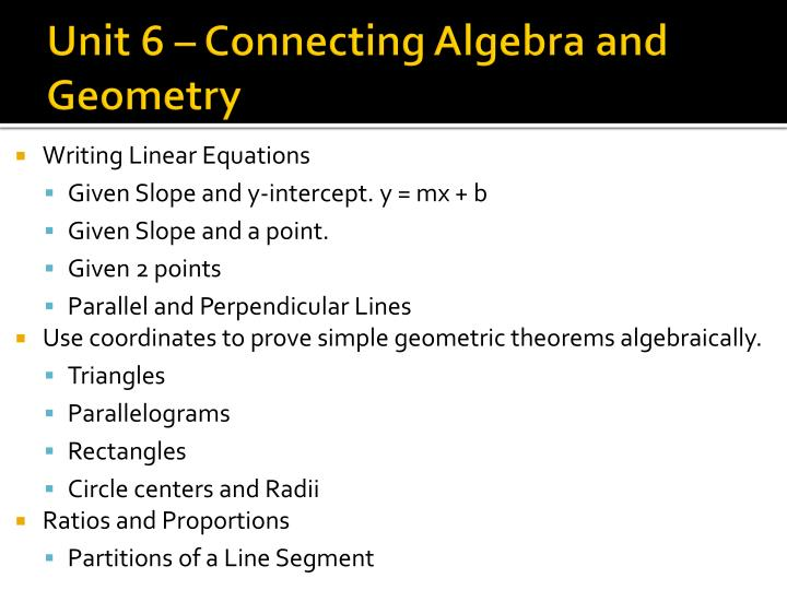 unit 6 connecting algebra and geometry n.