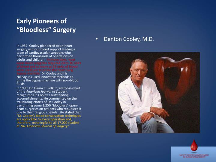 """Early Pioneers of """"Bloodless"""" Surgery"""