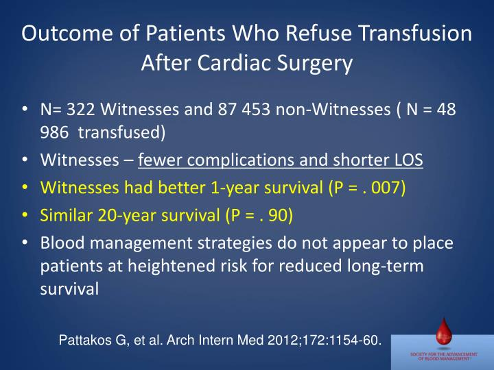Outcome of Patients Who Refuse Transfusion After Cardiac Surgery