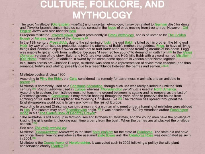 Culture, folklore, and mythology