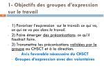 1 objectifs des groupes d expression sur le travail