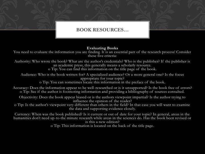 Book resources…