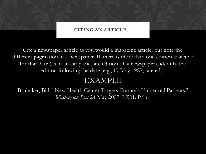 Citing an Article…