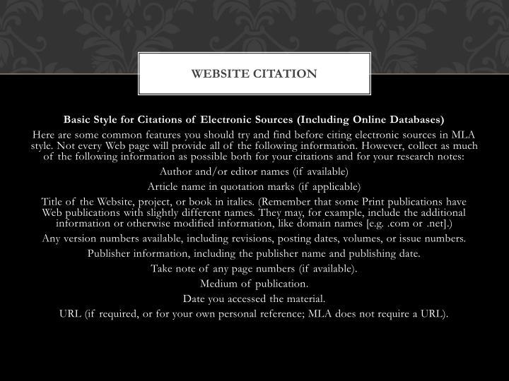 Website citation