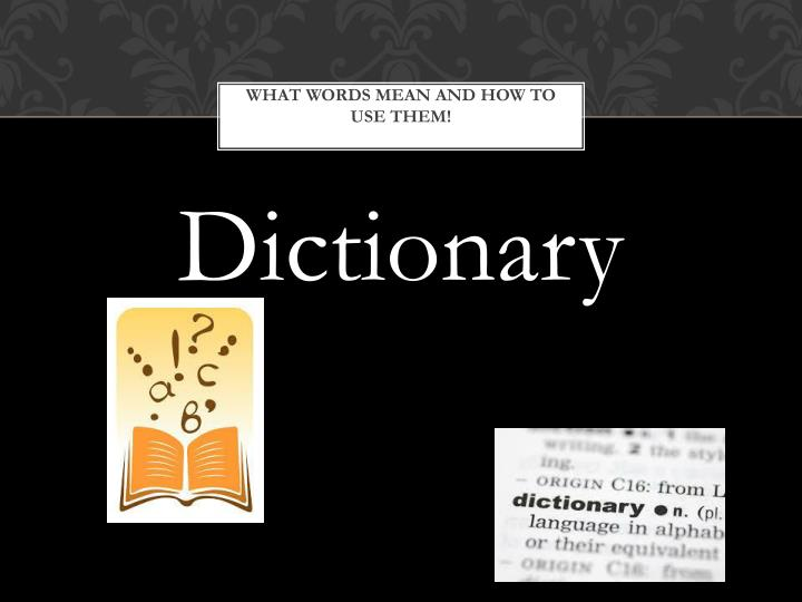 What words mean and how to use them