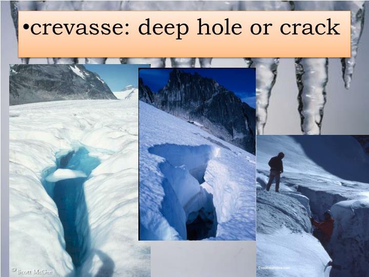 crevasse: deep hole or crack