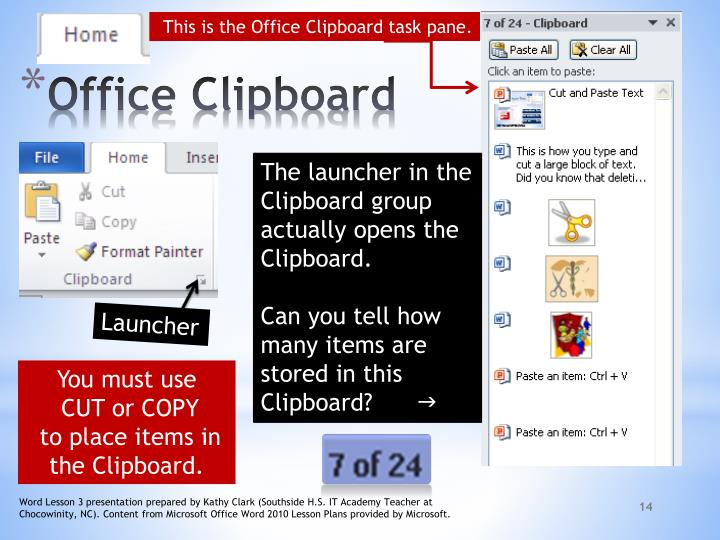 This is the Office Clipboard task pane.