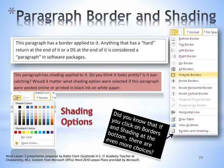 Shading Options