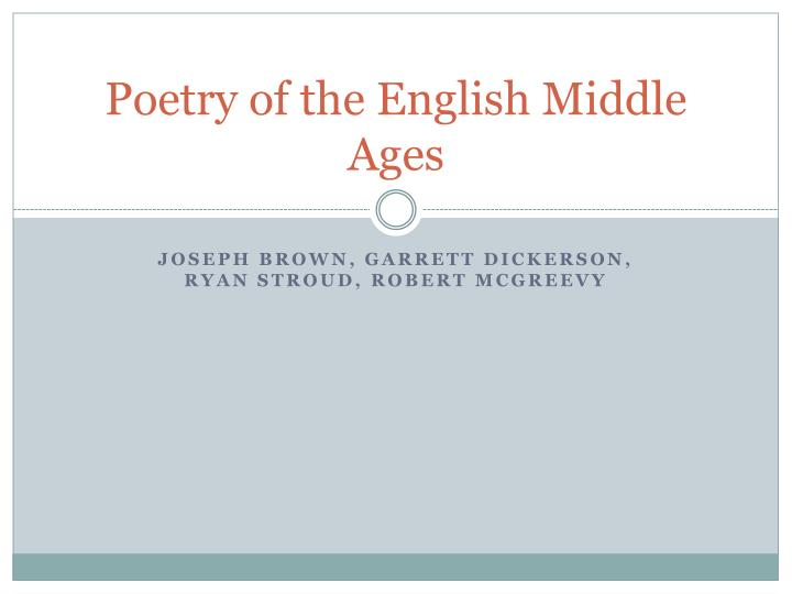 poetry of the english middle ages n.