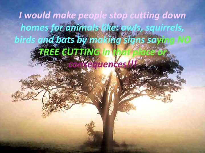 I would make people stop cutting down