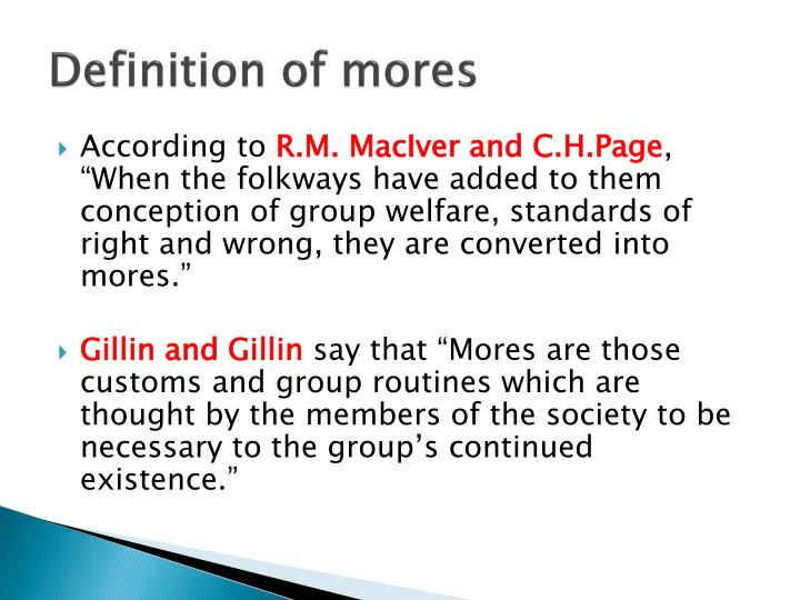 meaning of mores in sociology