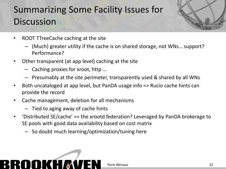 Summarizing Some Facility Issues for Discussion