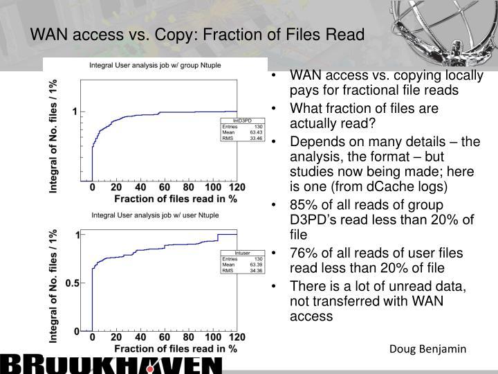 WAN access vs. Copy: Fraction of Files Read