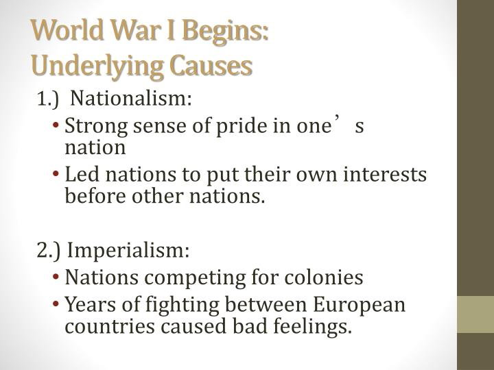an analysis of the immediate and underlying causes of world war one First world war (world war i) is considered as one of the largest wars in history causes of the first world war in the background there were many conflicts between european nations nations grouped among themselves to form military alliances as there were tension and suspicion among them.