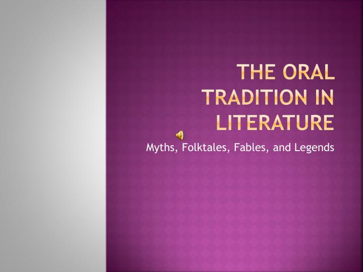 the oral tradition in literature n.