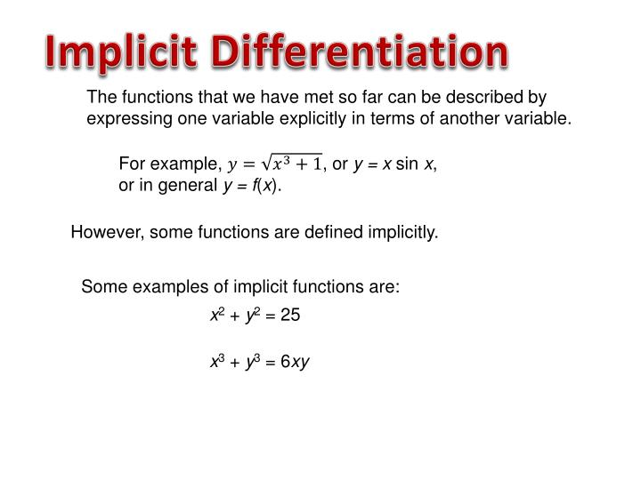 Implicit function theorem examples.
