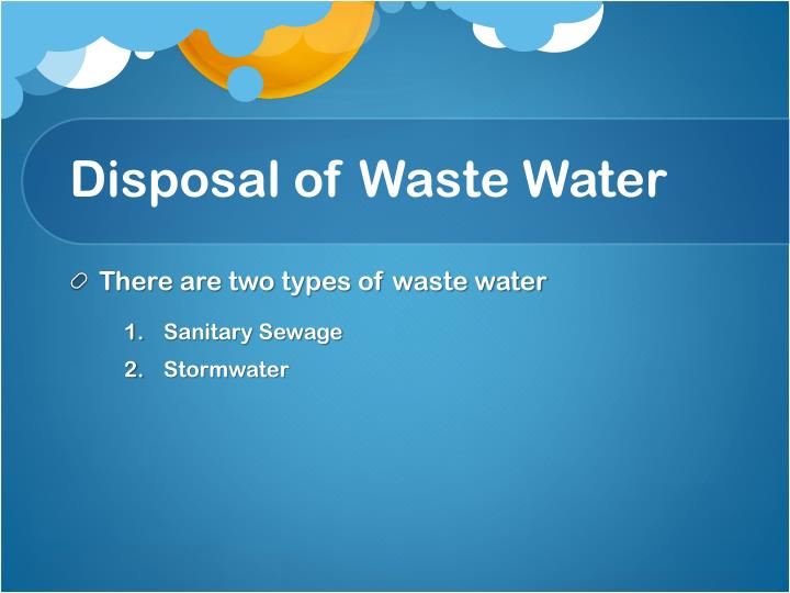 Disposal of Waste Water