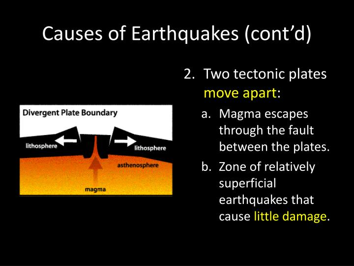 Causes of Earthquakes (cont'd)