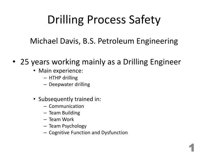 drilling process safety n.