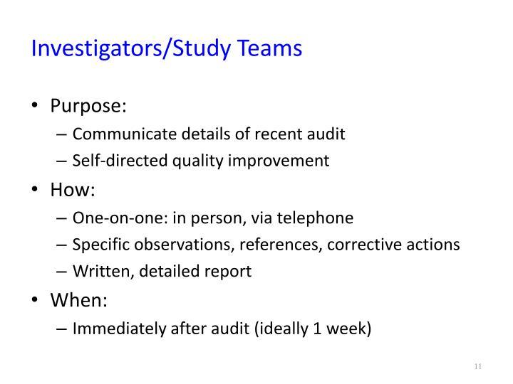 Investigators/Study Teams