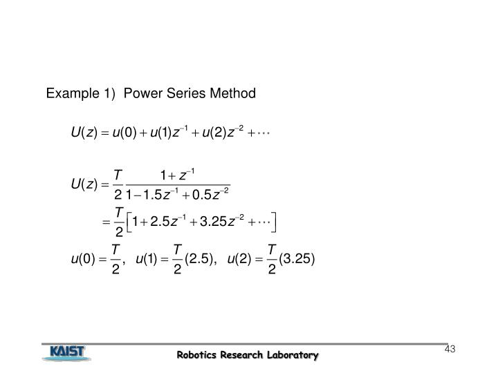 Example 1)  Power Series Method