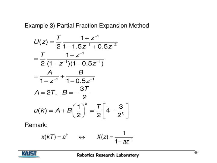 Example 3) Partial Fraction Expansion Method