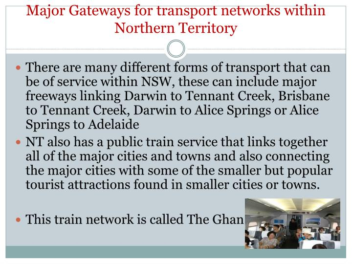 Major Gateways for transport networks within Northern Territory