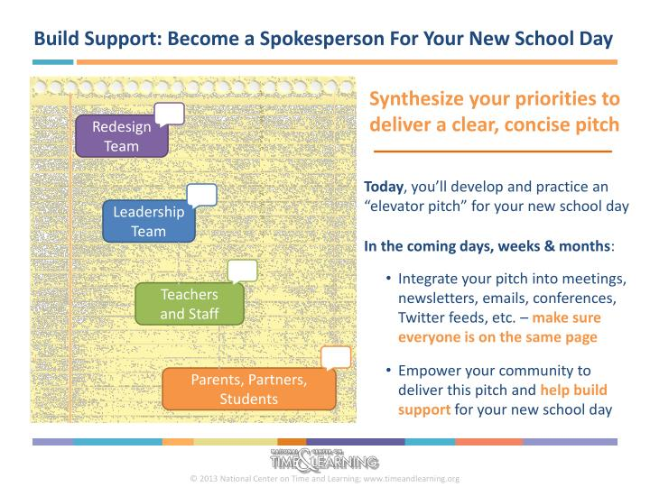 Build Support: Become a Spokesperson For Your New School Day