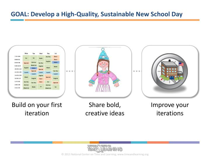 GOAL: Develop a High-Quality, Sustainable New School Day