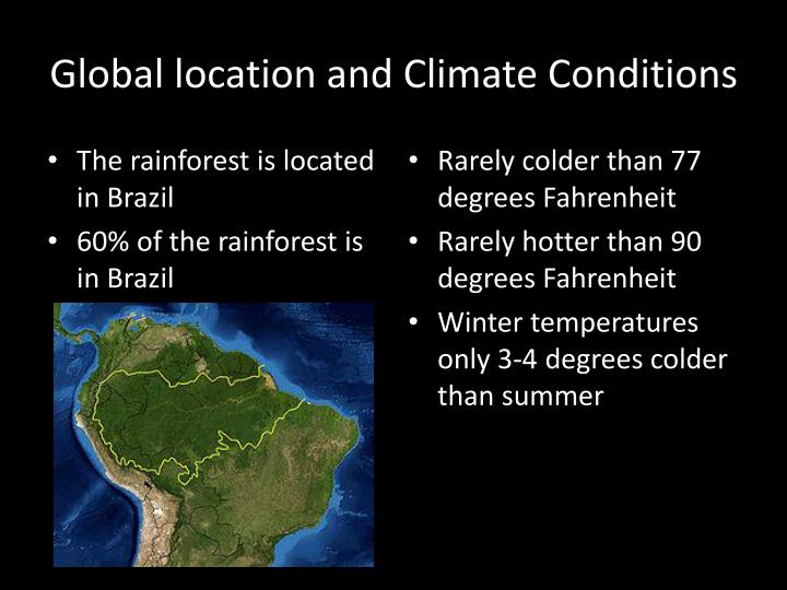 Global location and climate conditions