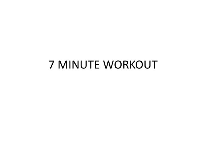 7 minute workout n.